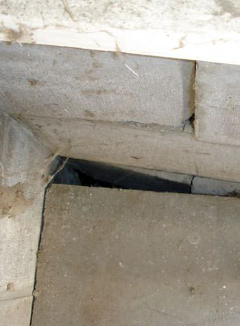 inward rotation of a foundation wall damaged by street creep in a garage in Ocean City