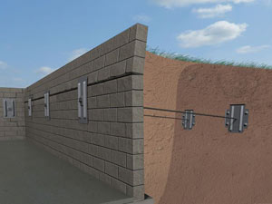 A graphic illustration of a foundation wall system installed in Brigantine