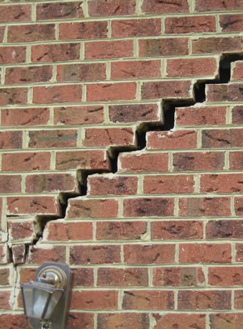 major cracking of a brick foundation wall in Linwood