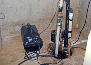 Pedestal sump pump system installed in a home in Glassboro