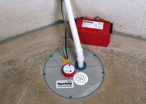 A sump pump system with a battery backup system installed in Brigantine