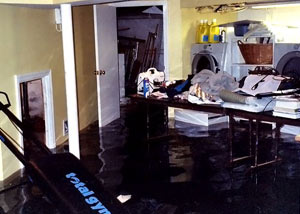 A laundry room flood in Cherry Hill, with several feet of water flooded in.