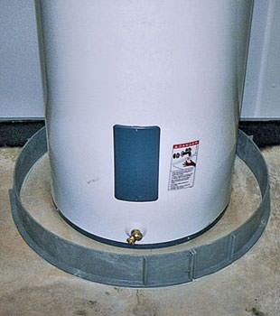 An old water heater in Egg Harbor City, NJ with flood protection installed