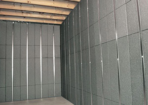 SilverGlo™ insulation and metal studs making up our Basement to Beautiful panels.  Installed in Blackwood.