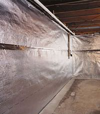 Radiant heat barrier and vapor barrier for finished basement walls in Egg Harbor Township, New Jersey
